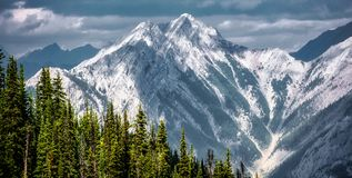 Mountain landscape, Canadian Rockies. Mountain landscapes in Banff National Park. ominous skies, sheer mountains walls, deep valleys stock image