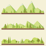Mountain landscapes illustration. Mountain landscapes with trees in flat style, eco scenes, vector illustration Stock Images