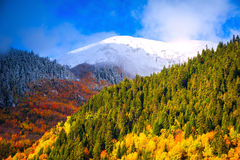 Mountain Landscapes. Meeting of the autumn and winter royalty free stock photography