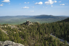 Mountain landscapes in national park Taganai. On South Ural in Russia Royalty Free Stock Photography