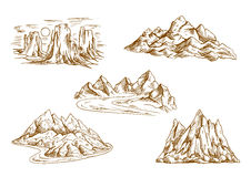 Mountain landscapes retro sketch icons Royalty Free Stock Photography