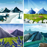 Mountain Landscapes Set Stock Photography