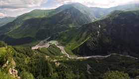 Mountain lanscape. High view of mountain lanscape with a river and lake Stock Photo
