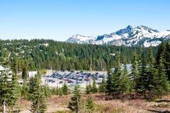 Mountain lanscape, parking, mt rainier national park Stock Photography