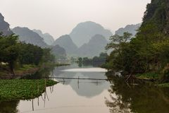 Mountain lanscape reflection in Vietnam royalty free stock photography