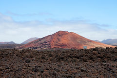 Mountain on Lanzarote, Canarian island Spain. Against blue sky royalty free stock image