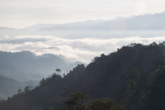 Mountain layers. Layers of mountains covered by thick mists Stock Images