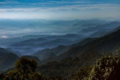 Mountain layers scene of doi ang khang most popular winter trave Stock Images