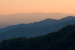 Mountain Layers at Sunset. The gentle crests of the Smoky Mountains NP at sunset stock photography
