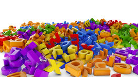 Mountain of letters. Scattered pile of colorful letters Royalty Free Stock Images