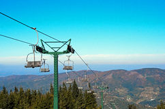Mountain lift in autumn Stock Image