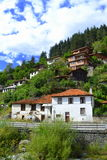 Mountain lined up houses view Royalty Free Stock Images