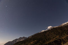 Mountain with little snow on the top with stars in the night at Lachen in North Sikkim, India Royalty Free Stock Photos