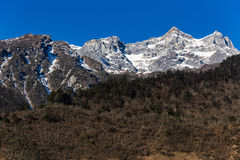 Mountain with little snow on the top sunlight in the morning at Lachen in North Sikkim, India Royalty Free Stock Image