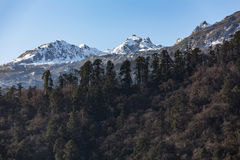 Mountain with little snow on the top sunlight in the morning at Lachen in North Sikkim, India Royalty Free Stock Photos