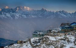 Mountain lodge in Nepal. Lodge in Nepal Himalaya trek for hlkers tourists Royalty Free Stock Images