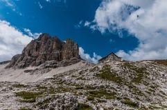Mountain lodge Rifungio Pisciadú Royalty Free Stock Images