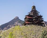 Mountain log cabin rustic scenic Stock Photos