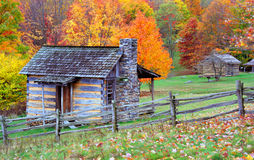 Mountain Log cabins in Fall Stock Photography