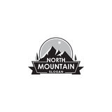 Mountain logo with north star, label or badge vector design element. Mountain design element in vintage style. Label, logo, badge and other design. Retro vector Stock Photos