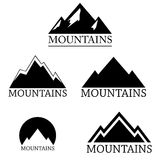 Mountain logo set isolated on white background,  Royalty Free Stock Photos