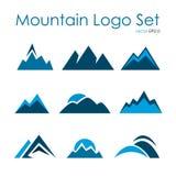 Mountain logo set, rocky terrain, nature landscape icon set Stock Image