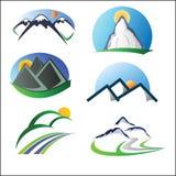 Mountain logo set Stock Photos