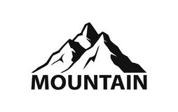 Mountain logo silhouette in black color Royalty Free Stock Photo