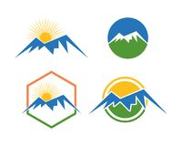 Mountain logo template collection. Is a symbol associated with nature, especially the mountains and is suitable to symbolize sports symbols such as hiking or Royalty Free Stock Photo