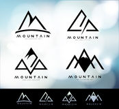 Mountain Logo Vintage. Retro Vintage Mountain Logo with blurred background. Mountain Linear Logo Design vector illustration