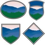 Mountain Logos. Various Logos with a Mountain Landscape Stock Photo