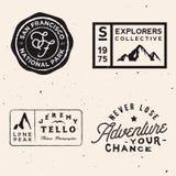 Mountain Logotypes. Adventure Logo Templates On Travel Theme Stock Photography