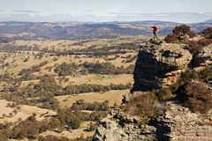 Mountain Lookout. Lonely tourist is enjoying beautiful mountain lookout panorama in Blue Mountains, NSW, Australia royalty free stock image