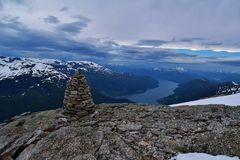 Mountain lookout. Mountain called Mt Skåla. Picture taken august 2015 Stock Photos
