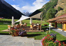 Mountain luxury accommodation: outdoor terrace Stock Images