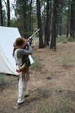 Mountain man preparing to fire Royalty Free Stock Photography