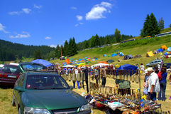 Mountain market with traditional Bulgarian articles Stock Image