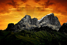 Mountain Marmolada - Dolomiti Italy. View of mountain Marmolada in the sunset - top of Dolomiti Italy Royalty Free Stock Photography