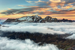 Mountain Marmolada at sunset in Italy dolomites at summer Royalty Free Stock Photos