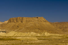 Mountain Masada. Mountain of Masada and the snake trail from the Dead Sea side stock image