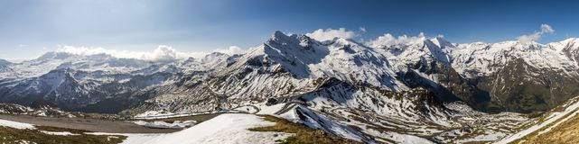 Panorama Grosglockner Alpen Hochstrasse Austria. Mountain massif of the Grossglockner at the Alpen Hochstrasse in the province of Salzburg, Austria royalty free stock images