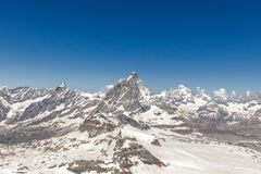 Mountain Matterhorn with blue sky Zermatt, Switzerland Royalty Free Stock Photos