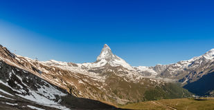 Mountain Matterhorn with blue sky, Zermatt, Switzerland Royalty Free Stock Photos