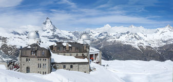 Mountain Matterhorn. Panorama view of Mountain Matterhorn from Gornergrat View platform, Swiss royalty free stock photos