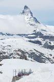 Mountain Matterhorn, Switzerland. Mountain Matterhorn and train in Gornergrat, Zermatt, Switzerland stock photo