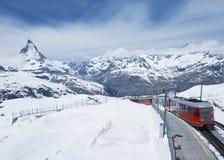 Mountain Matterhorn and train Stock Photography