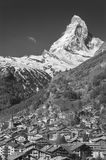 Mountain Matterhorn and Zermatt, Swiss Stock Image
