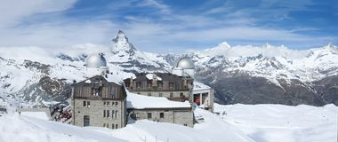 Mountain Matterhorn, Zermatt, Switzerland. Panorama view of Mountain Matterhorn from Gornergrat View platfom in Swiss royalty free stock photography