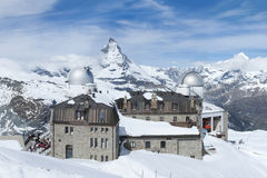 Mountain Matterhorn, Zermatt, Switzerland. Panorama view of Mountain Matterhorn from Gornergrat View platform, Swiss stock images