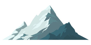 Mountain mature silhouette element outdoor icon snow ice tops and decorative isolated camping landscape travel climbing Stock Images